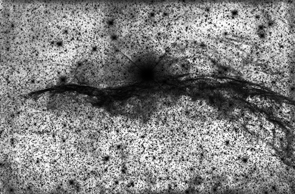 Ecco la foto in negativo per mostrare i veli della parte superiore ed intorno alla stella..